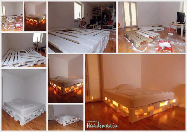 кровать из старых ящиков