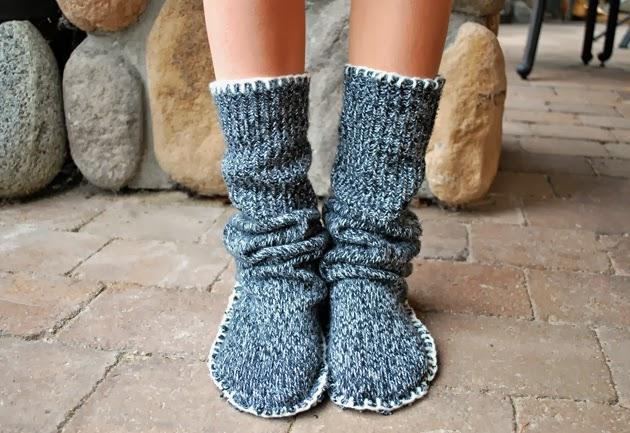Тапочки из свитера фото