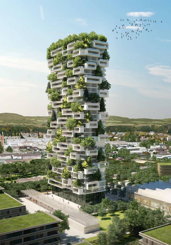 Проект первого в Мире здания с деревьями в Швейцарии