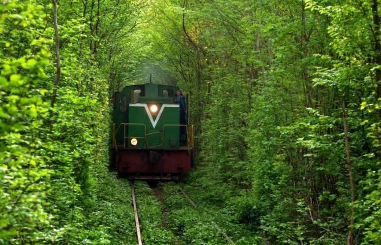поезд едущий по тоннелю любви