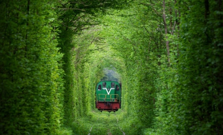 поезд проехал по туннелю любви