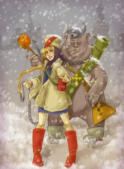 русский медведь, балалайка, икра и водка