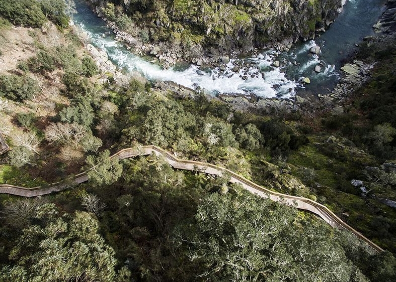 деревянная лестница в горах Португалии