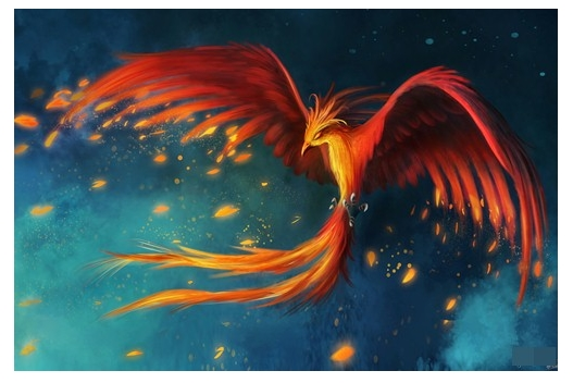 птица феникс, рисунок