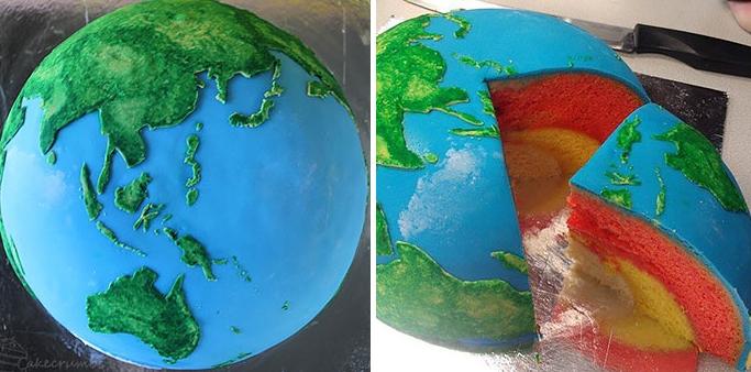 торт в виде планеты Земля