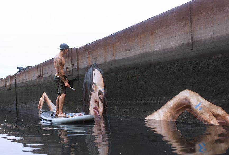 стрит арт с использованием воды