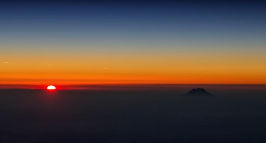 фото из самолета - закат
