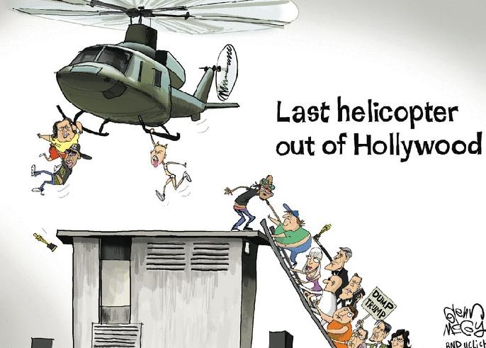Карикатура - реакция Голливуда на избрание Трампа.