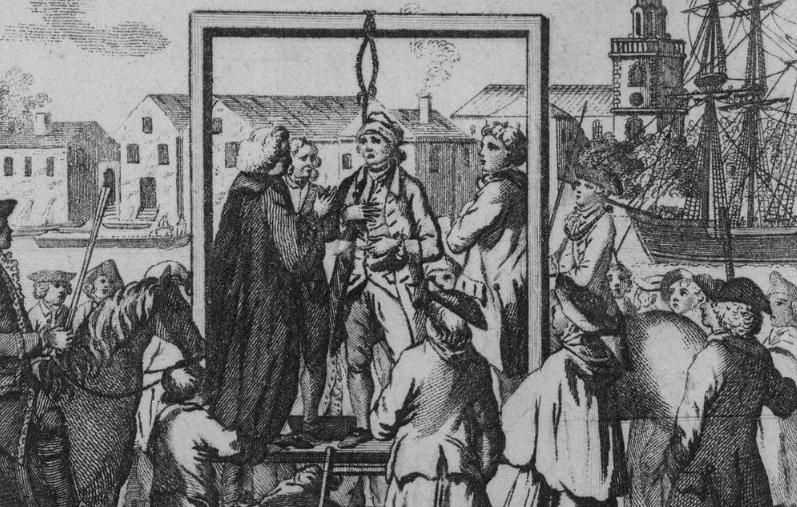 1795 года. Гравюра с изображением казни пирата.