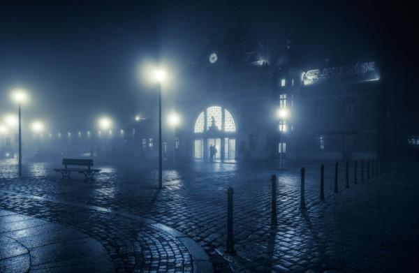 польские города ночью