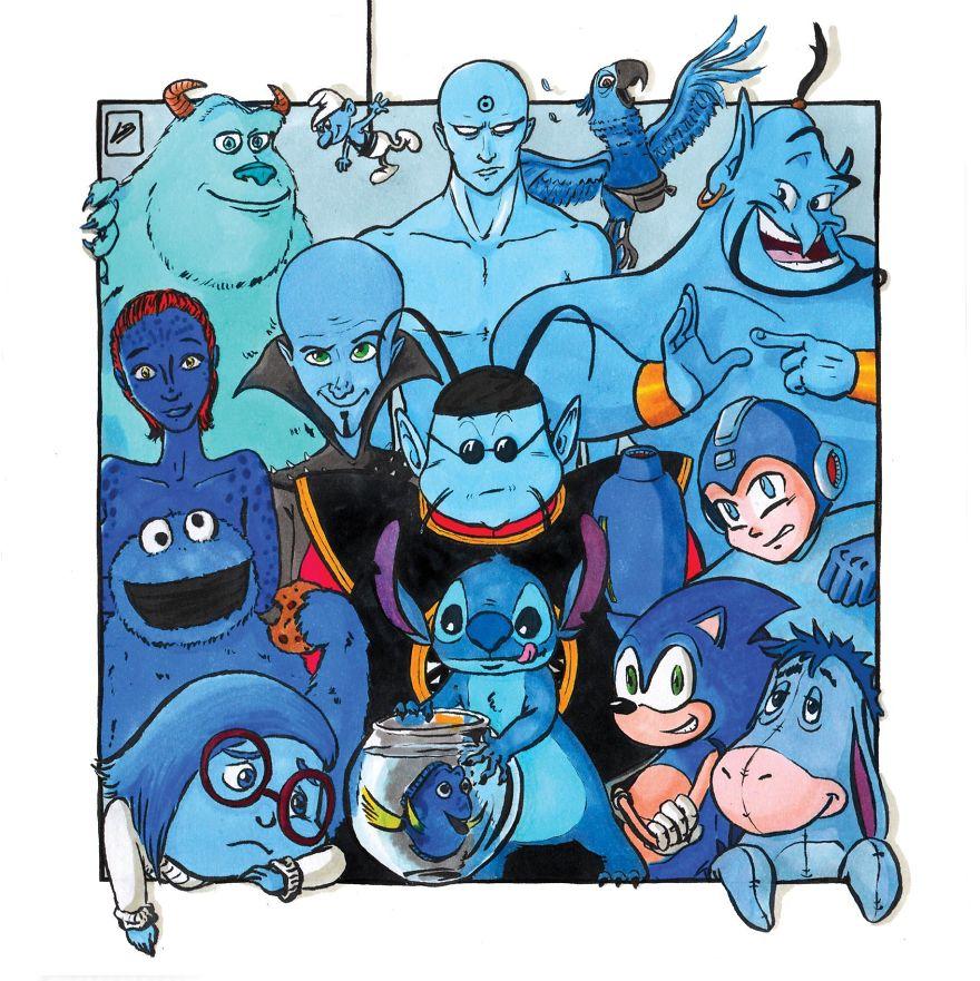 мульт герои синего цвета