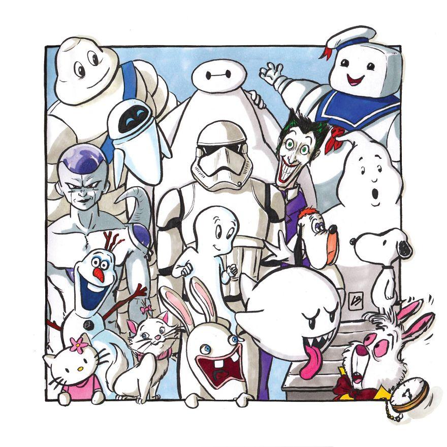 мультипликационные герои белого цвета