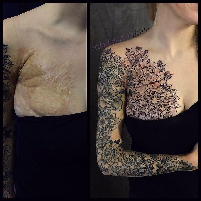 татуировка скрывающая шрам