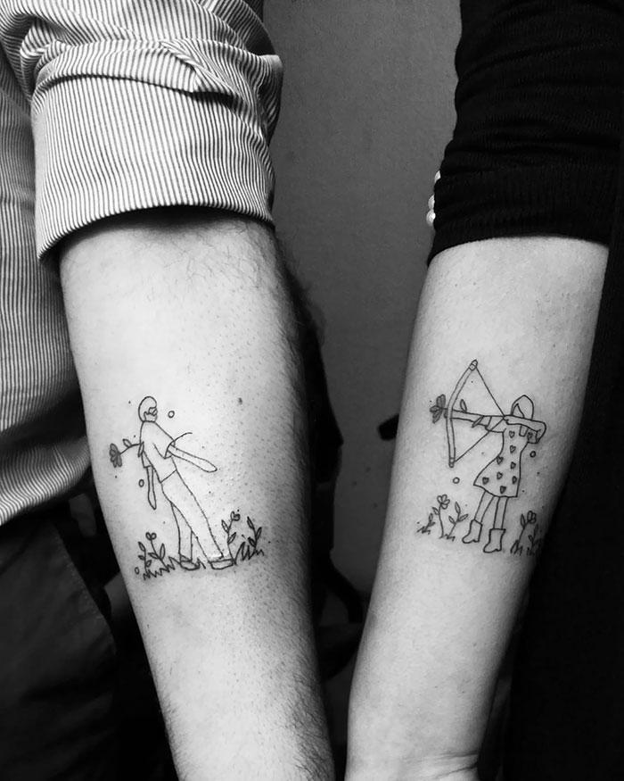 оригинальная татуировка для двоих