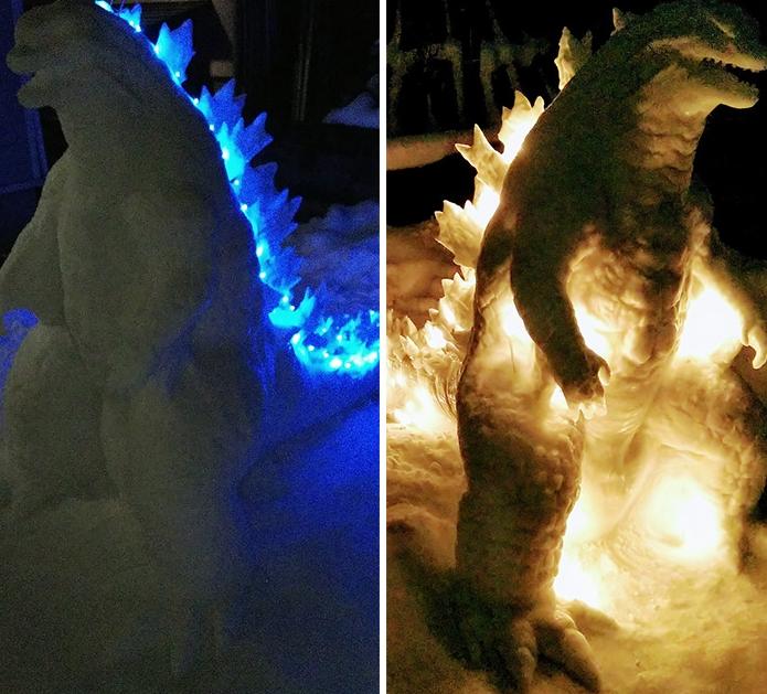 снеговик годзилла фото